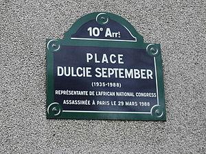 Dulcie September - Memorial plaque for Dulcie September