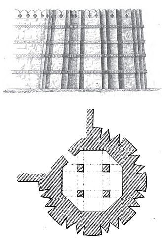 Dabhoi - Plan and elevation of the corner tower of fortress of Dabhoi