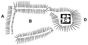 Lydford Castle - Plan of the castle in the 21st century; A - outer edge of the burh wall and valley; B - bailey; C - tower; D - Lydford's main street