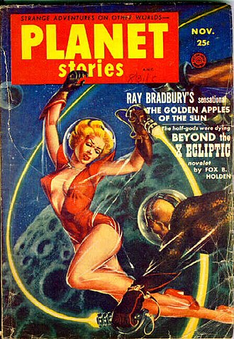 "Planet Stories - The November 1953 Planet Stories, by Kelly Freas, showing the ""sexual dimorphism"" mentioned by Harry Harrison, and also showing the new cover logo that was adopted from the Spring 1947 issue"