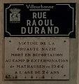 Plaque hommage à Raoul Durand - Rue Raoul Durand (Villeurbanne).jpg