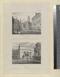 Plate 13th. Custom House, Wall St. New York; Unitarian Church, Mercer St. New York (NYPL Hades-119337-54374).tif