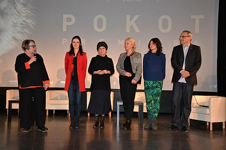 Discussion with Holland at the premiere of Spoor in Nowa Ruda, south-western Poland Pokot w Nowej Rudzie.jpg