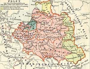 Kiev Voivodeship - Map of the Polish-Lithuanian Commonwealth and its territorial losses in the mid 17th century.