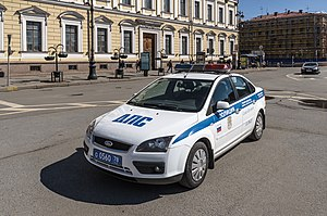 Saint Petersburg Police - Saint Petersburg Police car. Parking near to Saint Isaac's Cathedral.