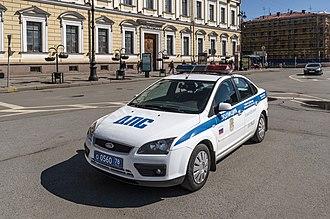Saint Petersburg Police - Saint Petersburg Police Ford Focus patrol car near  Saint Isaac's Cathedral.