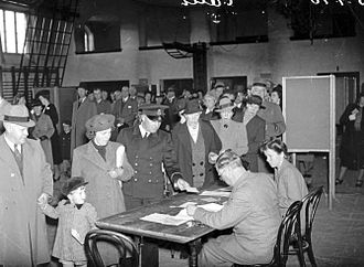 Elections in Sweden - Polling station in Gothenburg, 1940 general election