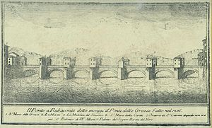 Ponte alle Grazie - 17th-century print of Bridge, with houses, looking North.
