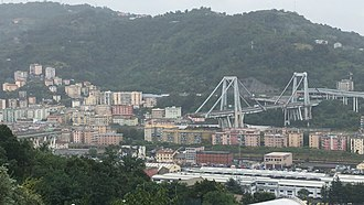 Ponte Morandi - The collapsed section of the Ponte Morandi