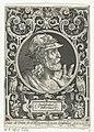 Portret van Godfried van Bouillon in medaillon binnen rechthoekige omlijsting met ornamenten Godefridus Bulonius (titel op object) De negen besten (serietitel), RP-P-1963-634.jpg