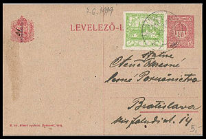 Postage stamps and postal history of Czechoslovakia - 5 heller Hradčany stamp used in 1919 to uprate a Hungarian postal stationery postcard