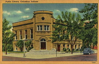 """Cleo Rogers Memorial Library - A postcard showing the first public library in Columbus, Indiana, the """"Carnegie Public Library,"""" which was dedicated in 1903. The building was demolished before the current building opened."""