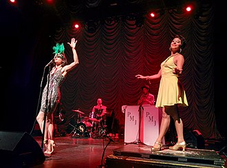 "Postmodern Jukebox - Ariana Savalas and Sarah Reich perform ""Bad Romance"" by Lady Gaga at The Regency Ballroom in San Francisco"