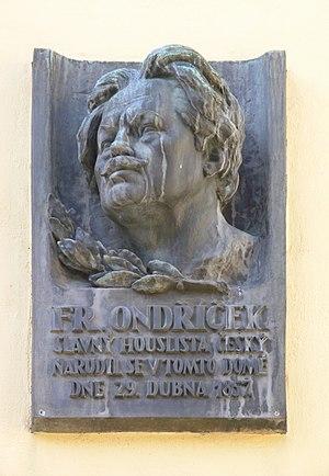 František Ondříček - František Ondříček (memorial plaque in Prague)
