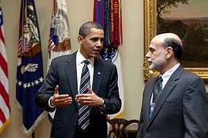 President Barack Obama meets with Federal Reserve Chairman Ben Bernanke 4-10-09