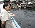 President Gloria Macapagal-Arroyo views the Estero during the launching of the Abucay Pumping Station.jpg