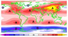 Pression moyenne au niveau de la mer autour de la terre en décembre