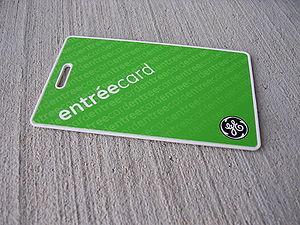 Proximity card - A passive proximity card for door access.