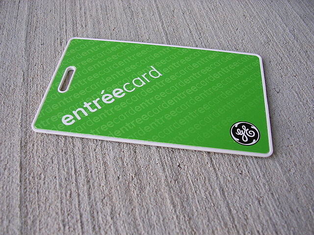 Access can be controlled in a number of ways; a key card is one of them.