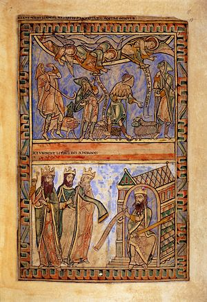 Winchester Psalter - The Annunciation to the Shepherds (top) and the Magi before Herod (bottom), fol. 11