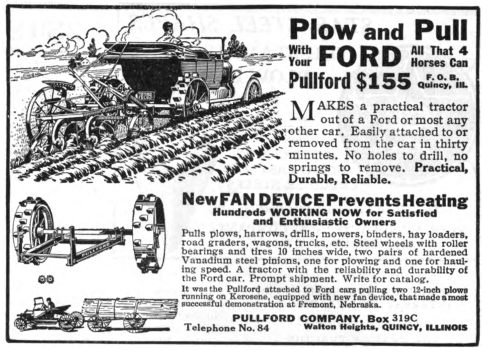 Pullford auto-to-tractor conversion advert 1918