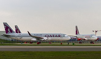 Airbus A320neo family - Qatar Airways A320neos waiting for their engines