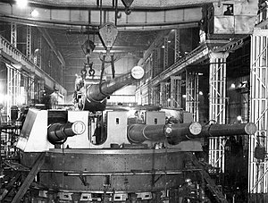 Quadruple gun mounting in 24 Shop, Elswick Works (26345255273).jpg