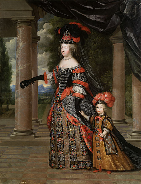 Bestand:Queen Marie Thérèse and her son the Dauphin of France, dated circa 1663 by Charles Beaubrun.jpg
