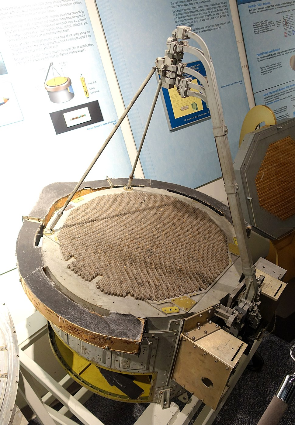 RARF Antenna, Reflecting Array Radio Frequency, Raytheon, 1968-1969, Ku-band, over 3500 phase shifting modules, for the AN-APQ-140 radar - National Electronics Museum - DSC00376