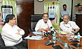 Radha Mohan Singh briefing the media after launching the 'Pashu Poshan', a web and android platform application developed by the National Dairy Development Board.jpg