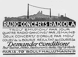 Radiola (radio station) - A 1924 advertisement promoting Radiola's programming