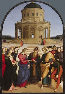 Oil painting. A Jewish Priest stands centrally to join the hands of the Virgin Mary who approaches from the left, followed by maidens and St. Joseph who stands to the right. Behind Joseph are young men who have been unsuccessful in winning Mary's hand. Joseph carries a flowering branch. Behind them is an open square and circular temple, in perspective.