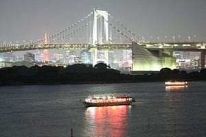 Shuto Expressway - The Shuto Expressway as it crosses Rainbow Bridge