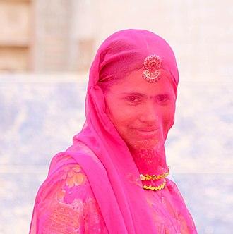 Ghoonghat - A Hindu woman with a ghoonghat veil