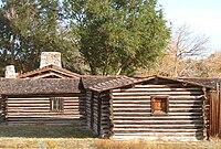 Reconstructed buildings at the site of Fort Caspar museum in Casper, Wyoming.jpg