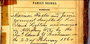 Morrison Foster - Record of Morrison Foster's Marriage from Eliza Foster's bible in 1860a