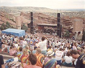 Red Rocks Amphitheater with deadheads waiting to start taken 8-11-1987.jpg