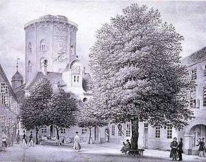 Regensen - Regensen in the 1840s with Rundetårn in the background