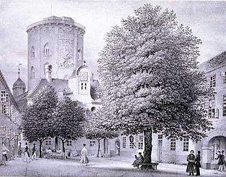 Regensen - Regensen in the 1840s with Rundetårn in the background