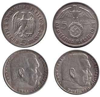 Reichsmark - 5-Reichsmark coins without (1936) and with (1938) the Nazi swastika