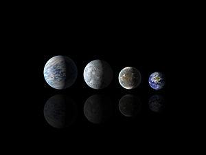 Kepler-62 - Image: Relative sizes of all of the habitable zone planets discovered to date alongside Earth