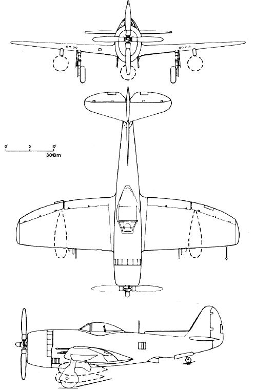 Republic P-47N 3-side drawings