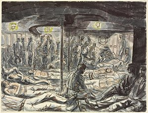 Laconia incident - Rescued British Sailors, Soldiers, Airmen and Merchant Seamen - on the French warship Gloire by Edward Bawden