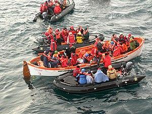 MV Explorer (1969) - Passengers escape the sinking MS Explorer