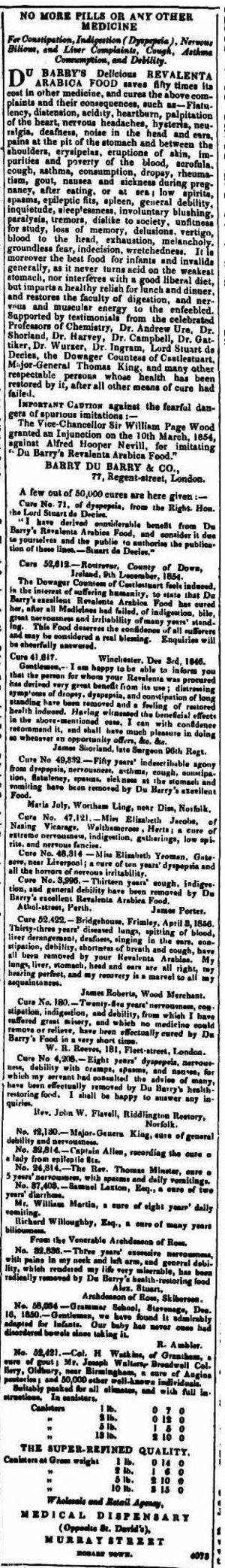 Revalenta arabica - Classified ad for Revalenta arabica from The Courier (Hobart, Tasmania) November 1, 1856, p. 4.
