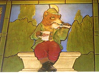 Bevo - Renard with a mug of Bevo, depicted in terra cotta on the interior walls of the Bevo building, St. Louis