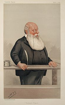 An illustration of a rather rotund, bald man with a long, white beard who is wearing a monocle and dressed in black whilst holding a quill pen.