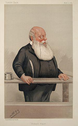 Richard Pigott - Pigott as caricatured by Spy (Leslie Ward) in Vanity Fair, March 1889
