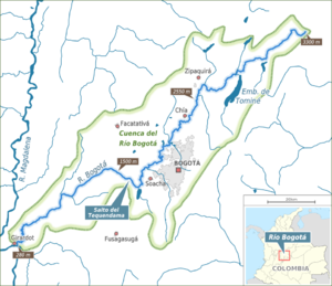 Tequendama - Map of the Bogotá River, Tequendama is situated on the right bank between Soacha and Tequendama Falls