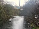River Holme (left) joining River Colne at Huddersfield, West Yorkshire, UK (RLH).JPG